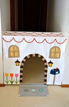 A bed sheet, a couple of tension rods along with some decorating and you have an instant portable playhouse or fort! What a great idea!!