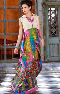 Pink Green Cream Pashmina Print Long Kurti,This designer kurti covered with Print. With a unique combination of Pink, Green, Cream color. Its give you look like ferry Indo Western Kurti, Western Kurtis, Long Kurtis, Tunic Designs, Handmade Dresses, Bridal Lehenga, Fashion Outfits, Fashion Trends, Gowns
