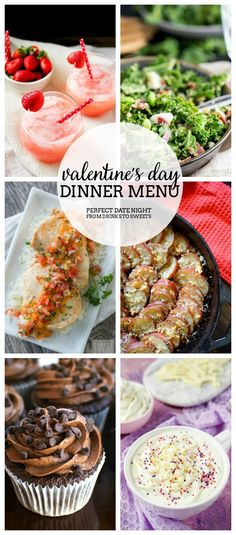 Valentine's Day Dinner Menu - Appetizers, main course, dessert, and drinks!