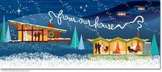 Our Modern Houses Christmas Cards feature a nighttime Pano-Rama scene of Mid Century Modern Houses decorated for Christmas as snow is falling. Neighbors are waving a friendly hello. From Our House…is billowing through the night sky spelled out in chimney smoke. Just in the distance you can see more mid-century homes glowing with Christmas lights. 8 cards & envelopes $13.00 | Folded Card Size 4.0″x 9.25″