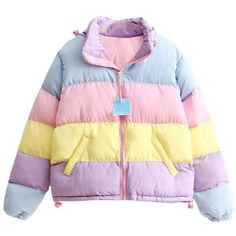 Pastel Padded Jacket (2.805 RUB) ❤ liked on Polyvore featuring outerwear, jackets, padded jacket, striped jacket, stripe jacket and pastel jacket