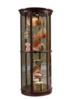 Chintaly Imports Triangular Curio Cabinet With Mirrored Interior ClearWhite     Be Sure To Check Out This Awesome Product.