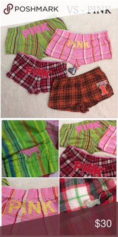Victoria's Secret Pajama Shorts EUC- all Medium except Illini are S. The three Plaid are vintage Pink so they run a little smaller, All have stretch waistbands. Maroon Plaid pair string is gone. Great for any PINK collector who love the PJ's all are very soft and comfy to sleep in PINK Victoria's Secret Intimates & Sleepwear Pajamas