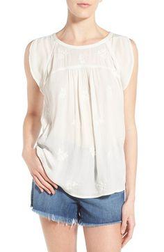 Hinge Embroidered Split Sleeve Top