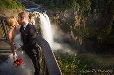 Wedding in front of the Snoqualmie Falls at Salish Lodge and Spa. Photo taken by Maxine Toh.
