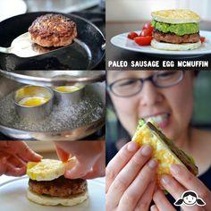 """Paleo Sausage Egg """"McMuffin""""   @Kathryn Wilson Ron Nom Paleo"""