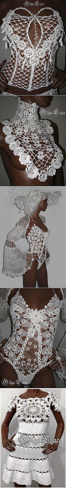 Красиво.. Freeform Crochet, Crochet Motif, Irish Crochet, Diy Crochet, Crochet Designs, Crochet Stitches, Crochet Bikini, Crochet Patterns, Crochet Scarves