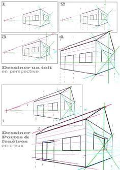 perspective 2 points fuites (toit et creux)