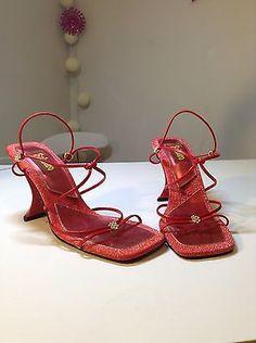 womens Fashion red strap sandals heels shoe 7.5