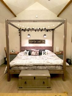 Robin sent in this photo of their super king size Four Poster Bed - Classic, finished in our grey wash satin. King Size Canopy Bed, Canopy Bedroom Sets, King Size Bedroom Sets, Canopy Bed Frame, King Size Bed Frame, Bedding Master Bedroom, Small Master Bedroom, Bedding Sets, Bedroom Ideas