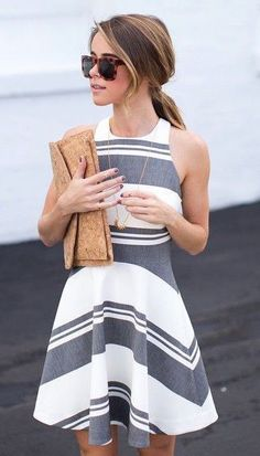 #summer #fashion / monochrome stripes