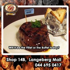 Welcome to another fantastic Friday in Mossel Bay! Are you going to make it a Cattle Baron Mossel Bay Fillet day or are you going to enjoy our lunch time buffet instead? Both are an excellent choice to start the weekend with. Steak Dishes, Lunch Time, Baron, Cattle, Buffet, Friday, Beef, Desserts, Food