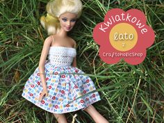 Kwiecista sukienka dla lalki. Cute floral dress for doll :)  #doll #skirt #dress #handmade #dressfordolls