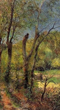 """Willows"", öl auf leinwand von Paul Gauguin (1848-1903, France)"