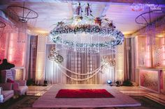 Gorgeous white floral mandap, Indian wedding decor,