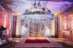Gorgeous white floral mandap, Indian wedding decor,