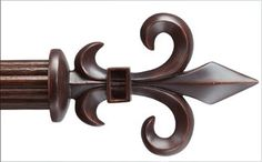 Walnut color for Fleur de Lis Custom 1 3/8 inch diameter drapery curtain rod set in fluted wood with brackets/hardware included (extra long size available available)