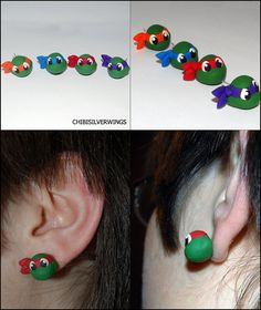 TMNT Teenage Mutant Ninja Turtle Earrings. $10.00, via Etsy.