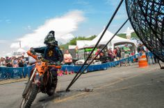 Motorcycle stunt rider about the enter the Globe of Death at Americade Circus Acts, Motorcycle Events, Stunts, Vermont, New England, Globe, Monster Trucks, Death, Speech Balloon