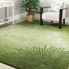 Handmade Soho Burst Green New Zealand Wool Rug (5'x 8') | Overstock.com