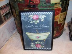 Salle De Bain chalkboard look bathroom sign,Paris decor,Paris theme,FRENCH…