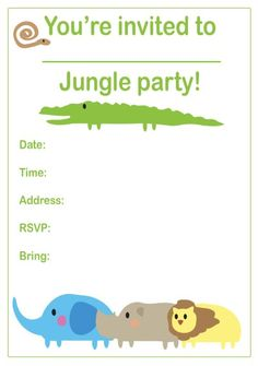 60 best invite images on pinterest birthdays jungle party and jungles jungle party invitations kids birthday party jungle birthday party ohbaby stopboris Images