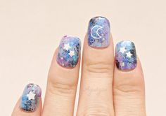 #Pastelgoth 3D nails #Kawaii #nails #galaxy celestial moon by Aya1gou, $13.00 #nail