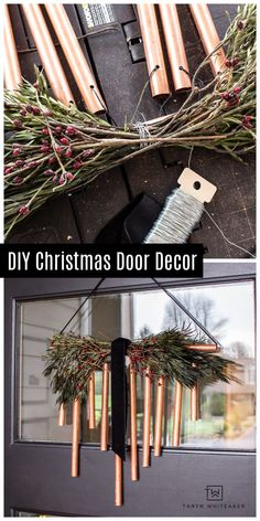 Learn how to make this DIY Copper Christmas Door Decor using WORX Tools MakerX! This easy Christmas DIY is so easy! Country Christmas Decorations, Christmas Porch, Simple Christmas, Christmas Wreaths, Christmas Crafts, Traditional Wind Chimes, Christmas Entertaining, Jingle All The Way, Christmas Inspiration