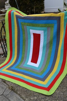 Modern Quilt Multi Color Bold Graphic Funky Contemporary Bright Color Quilt via etsy by TrueloveQuilts forYou.