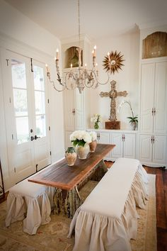 dining room ~love the ruffled benches! maybe the hubs would be okay with benches if there pretty?!?!