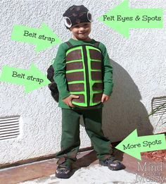 DIY Sea Turtle Costume. Super Easy with felt and hot glue.