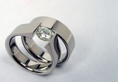 Moissanite Titanium TensionSet Engagement and by hersteller, $599.00 I LOVE, LOVE , LOVE these rings!!