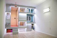 #architecture #arquitectura #persianas #blind #espacio #space  #hall #pasillo #reloj #watch #led #cocina #kitchen #baño #aseo #bathroom