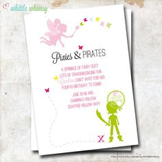 Pixies & Pirates Birthday Invitation Custom by whittlewhimsy, $13.00