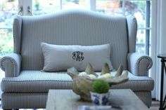 Monogramed pillows.