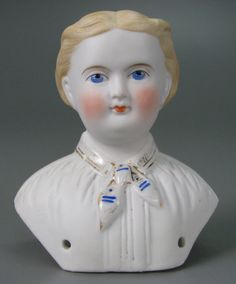 German bisque doll head by C.F. Kling & Co., 1850-1875.