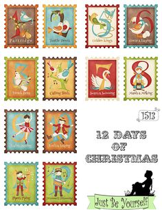 12 Days of Christmas Greeting Card Fronts 12 images on Set of