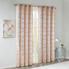 "Arielle Blackout Metallic Printed Curtain Panel Blush 50""x84"""