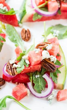 Watermelon and Blue Cheese Salad with baby arugula and spicy pecans #watermelon