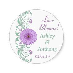 Lilac Purple Mint Floral Wedding Stickers