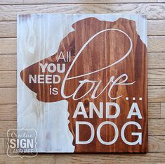 All You Need is Love and a Dog - Australian Shepherd Painted Wood Sign from Creative Sign Language - Perfect gift for the Australian Shepherd lover. Australian Shepherd sign. Available on Etsy.