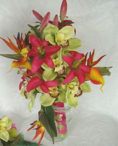 Tropical wedding bridal bouquets matching by ChurchMouseCreations, $155.00