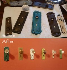 antique door knobs used as hooks for a rack--with shelf | Home Ideas ...