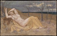 Tamaris - Pierre Puvis de Chavannes    The small plants with pink blossoms surrounding the reclining nude suggest that the artist intended her to be a personification of the tamarisk, or tamarix, a shrub named after the valley of Tamaris in the Var, in southeastern France. The broad style is characteristic of Puvis about 1886.