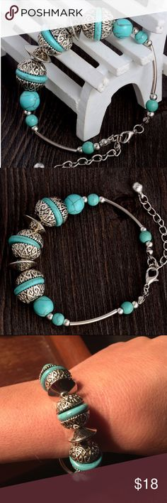 Bohemian Bracelet - New This is a cute bohemian bracelet - new in package - made of turquoise and zinc alloy - it will fit most wrists - it has a chain extender - pictures 3&4 are the actual pics of the bracelet Jewelry Bracelets