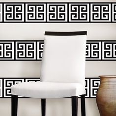 WallPops by Jonathan Adler Peel & Stick Nixon Stripe by Brewster Home Fashions on Striped Walls, White Walls, Temporary Wall Covering, Sofa Chair, Armchair, Cool Walls, Decoration, Modern Furniture, Furniture Chairs