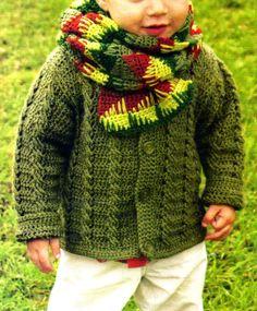 tejidos artesanales en crochet: saco para niño con puntos de ochos y bufanda en ja...