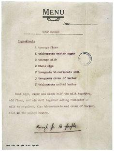 Queen Elizabeth's Recipe For Scones -- Given to President Eisenhower.