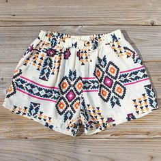White Aztec Print Shorts