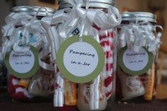gifts for friends: pampering in a jar - warm fuzzy socks, lip balm, hand lotion or bubble bath, and some chocolates. add a bit of ribbon and a tag.